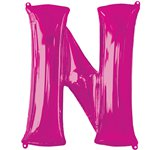 "Pink Letter N Air Filled Balloon - 16"" Foil"