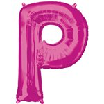 "Pink Letter P Air Filled Balloon - 16"" Foil"