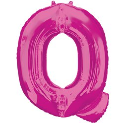 "Pink Letter Q Air Filled Balloon - 16"" Foil"