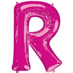 "Pink Letter R Air Filled Balloon - 16"" Foil"