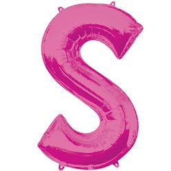 "Pink Letter S Air Filled Balloon - 16"" Foil"