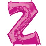 "Pink Letter Z Air Filled Balloon - 16"" Foil"