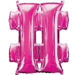"Pink Hashtag Air Filled Balloon - 16"" Foil"