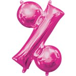 "Pink % Shaped Air Filled Balloon - 16"" Foil"