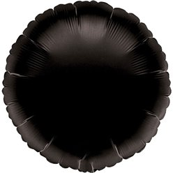 "Black Round Balloon - 18"" Foil - unpackaged"