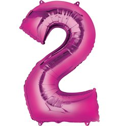 "Pink Number 2 Air Filled Balloon - 16"" Foil"