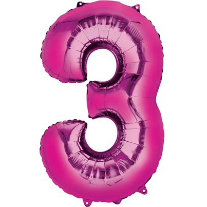 "Pink Number 3 Air Filled Balloon - 16"" Foil"