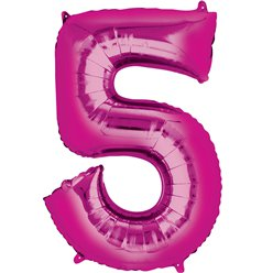 "Pink Number 5 Air Filled Balloon - 16"" Foil"