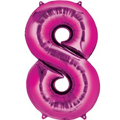 "Pink Number 8 Air Filled Balloon - 16"" Foil"