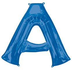 "Blue Letter A Air Filled Balloon - 16"" Foil"