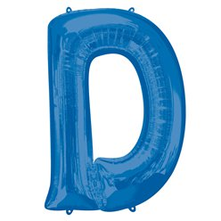 "Blue Letter D Air Filled Balloon - 16"" Foil"