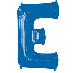 "Blue Letter E Air Filled Balloon - 16"" Foil"