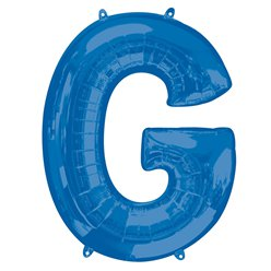 "Blue Letter G Air Filled Balloon - 16"" Foil"