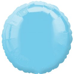 "Light Blue Round Balloon - 18"" Foil - unpackaged"