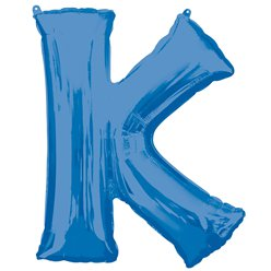 "Blue Letter K Air Filled Balloon - 16"" Foil"