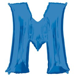 "Blue Letter M Air Filled Balloon - 16"" Foil"