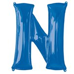 "Blue Letter N Air Filled Balloon - 16"" Foil"