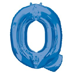 "Blue Letter Q Air Filled Balloon - 16"" Foil"