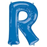 "Blue Letter R Air Filled Balloon - 16"" Foil"