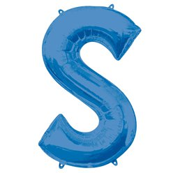 "Blue Letter S Air Filled Balloon - 16"" Foil"