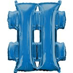 "Blue Hashtag Shaped Air Filled Balloon - 16"" Foil"