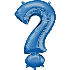 "Blue ? Shaped Air Filled Balloon - 16"" Foil"