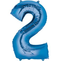 "Blue Number 2 Air Filled Balloon - 16"" Foil"