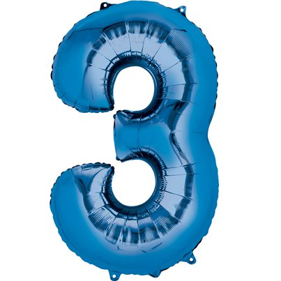 "Blue Number 3 Air Filled Balloon - 16"" Foil"
