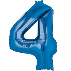 "Blue Number 4 Air Filled Balloon - 16"" Foil"