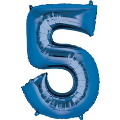 "Blue Number 5 Air Filled Balloon - 16"" Foil"