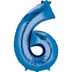 "Blue Number 6 Air Filled Balloon - 16"" Foil"