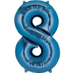 "Blue Number 8 Air Filled Balloon - 16"" Foil"