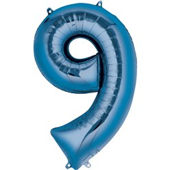 "Blue Number 9 Air Filled Balloon - 16"" Foil"