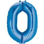 "Blue Number 0 Air Filled Balloon - 16"" Foil"