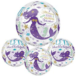 "Mermaid Wishes Orb balloon - 16"" Foil"