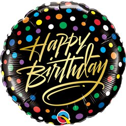 "'Happy Birthday' Gold Script & Dots Foil Balloon - 18"" Foil"