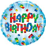 "'Happy Birthday' Exploding Blocks Balloon - 18"" Foil"