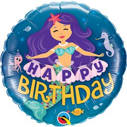 "'Happy Birthday' Mermaid Balloon - 18"" Foil"