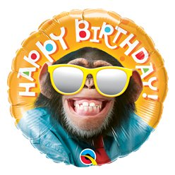 "'Happy Birthday' Smiling Chimp Balloon - 18"" Foil"