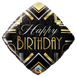 "'Happy Birthday' Art Deco Balloon - 18"" Foil"