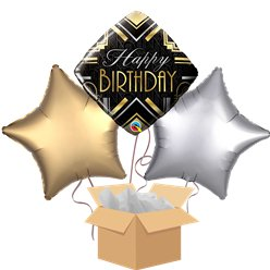 Art Deco Happy Birthday Balloon Bouquet - Delivered Inflated
