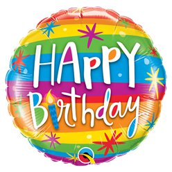 "'Happy Birthday' Rainbow Stripes Balloon - 18"" Foil"