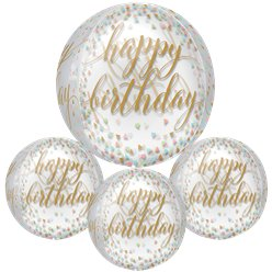 "Confetti Fun 'Happy Birthday' Orbz Balloon - 16"" Foil"