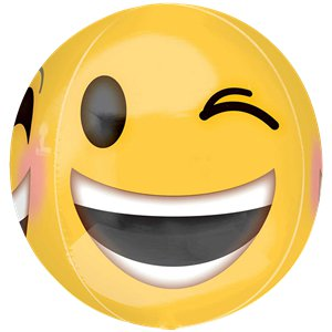 Emoji Winking Smiley Orbz Balloon - 16