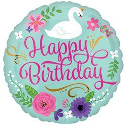 "Floral Swan Happy Birthday Balloon - 18"" Foil"