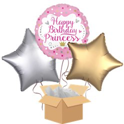 Princess Happy Birthday Balloon Bouquet - Delivered Inflated
