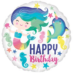 "Mermaid & Narwhal Happy Birthday Balloon - 18"" Foil"