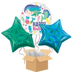 Mermaid Happy Birthday Balloon Bouquet - Delivered Inflated