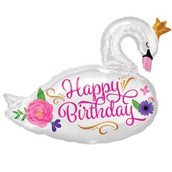 "Beautiful Swan Happy Birthday Supershape Balloon - 29"" Foil"