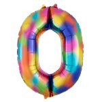 "Rainbow Splash Number 0 Balloon - 34"" Foil"